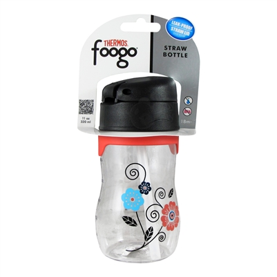 foogo plastic straw bottle poppy patch 11 oz thermos. Black Bedroom Furniture Sets. Home Design Ideas